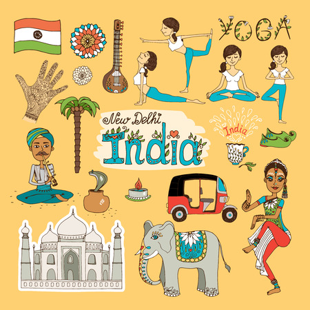 monument in india: Collection of hand-drawn India Landmarks with the flag  dancer  yoga poses  snake charmer  tuc tuc   mehndi hand decoration  elephant and Taj Mahal Illustration
