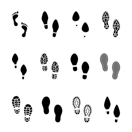 tacones: Conjunto de huellas y huellas de calzado iconos en los pies desnudos en blanco y negro y mostrando la huella de la planta con los diferentes patrones de macho y hembra calzado con botas de los zapatos y tacones altos