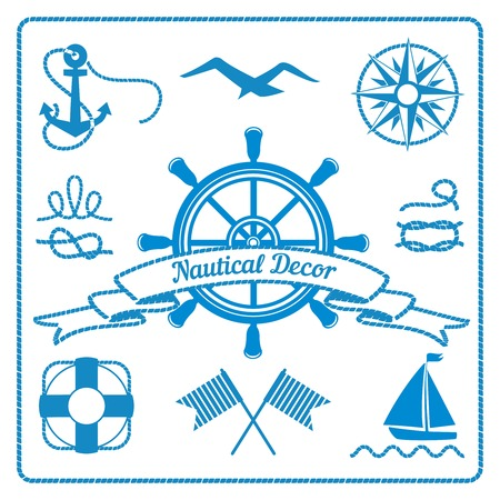 nautical badges and decor marine elements with steering wheel, rope and lifeline, vector eps10 illustration Vector