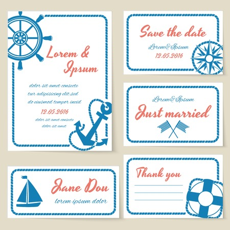 themed: Nautical themed wedding invitation and greeting cards with rope borders and copyspace for text and a ships wheel  compass  anchor  yacht  life ring and semaphore flags as decoration