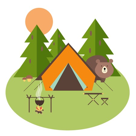 Camping in forest with tent, trees and bear, vector eps10 illustration