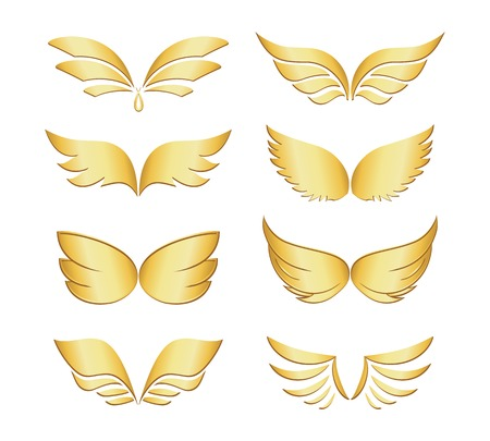 beings: Set of eight different pairs of golden wings depicting angels  fairies  fantasy  celestial beings  religion and spirituality  illustration isolated on white