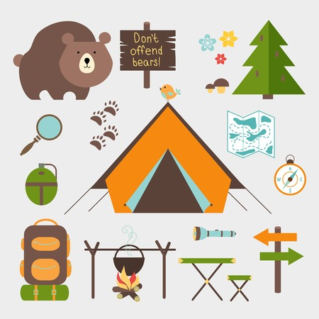 woods: Vector icons forest camping set with a pine or fir tree  bear  map  tent with open flaps  rucksack or backpack  campfire  compass  water bottle  magnifying glass  paw prints  signpost  torch  table