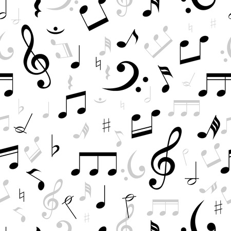musical score: Music notes seamless pattern in black and white with scattered treble and base clefs with assorted notes in square format suitable for wallpaper  vector illustration Illustration