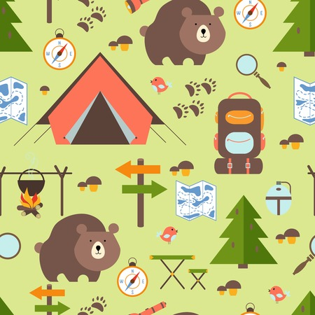 route map: Hike in the woods seamless pattern depicting a tent  bear  backpack  rucksack  trees  forest   signpost  trail  map  compass  direction  campfire  mushrooms magnifying glass and exploring nature