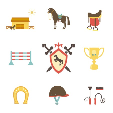 Horse and equestrian icons in flat style with a horse or pony in profile  stables  paddock  riding hat  jump  trophy  horseshoe  whip   crop  brush  saddle and emblem with a shield and crossed swords