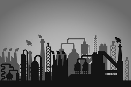 emitting: Industrial factory background with a greyscale skyline silhouette of storage tanks  chimneys emitting flames and interconnected pipes depicting a refinery  processing plant or factory