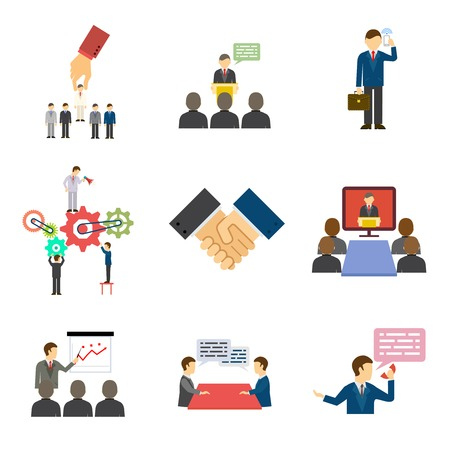 Set of illustrations depicting businesspeople talking  making speeches  in training  meetings  a conference  presentation  handshake  hiring  firing  and on a mobile phone Vector