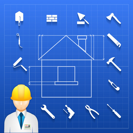 plasterer: Schematic infogram of a home under construction with an architect  engineer or builder in a hardhat and a variety of hand tools icons arranged as a border