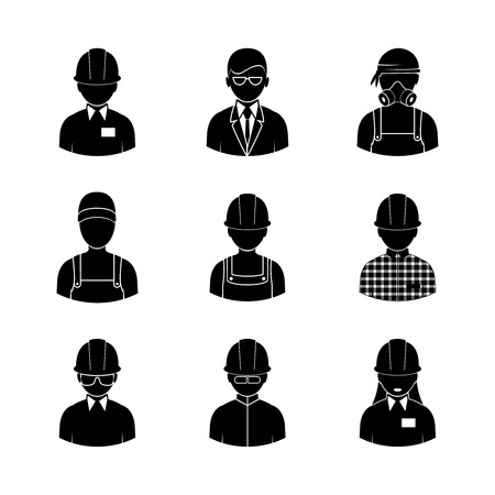 workwear: workers icons, vector people silhouettes in different working clothes Illustration