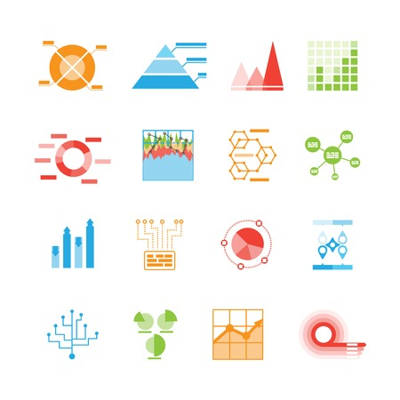 analytical: Graphs and charts icons or infographic elements with sixteen different wheel graphs  pie graphs  pyramid  bar graph flow chart  analytics  designs and templates Illustration