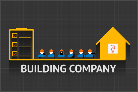 oversee: Vector building company emblem, builders between icons list and house Illustration