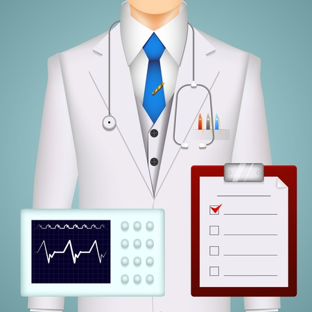 Doctor and medical charts and scans background with an electrocardiogram tracing  a MRI brain scan and a clipboard with a checklist in front of the torso of a doctor wearing a stethoscope and lab coat Vector