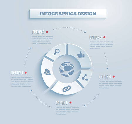 complementary: Vector paper infographics with social media and networking icons showing links  contacts  community  chat  share  search and like on five segments of a wheel with text options