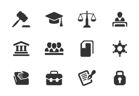 attorney scale: Set of black and white law and justice icons with a judge  gavel  lawyer  mortarboard hat  scales  court  jury  sheriffs star  law books  briefcase  scribe  and lock for a prison