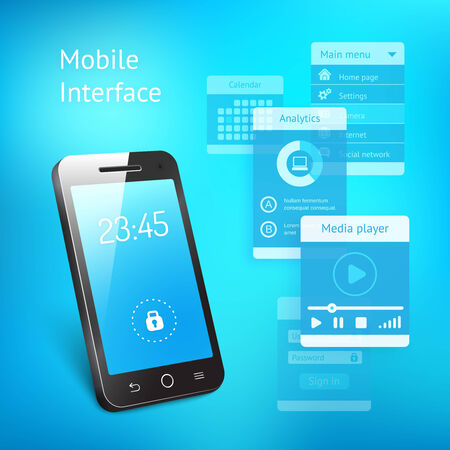 smartphone apps: 3d vector illustration of a modern smartphone or mobile phone with a blue screen showing the time and a lock symbol with various elements for the user interface in a communications concept Illustration