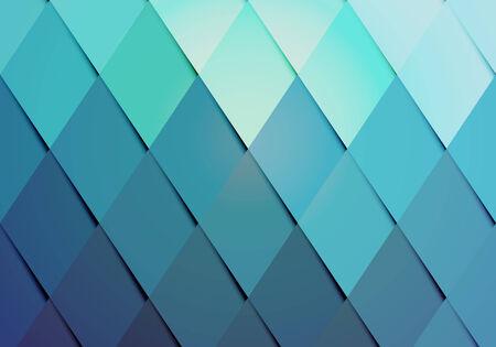 parallelogram: Inconformista de negocios de color de fondo con una disposici�n geom�trica de los diamantes graduados o rombos de color turquesa a azul en un patr�n de repetici�n con la sombra lateral para un efecto dimensional vector