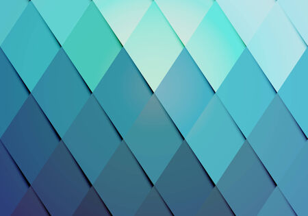 Business hipster color background pattern with a geometric arrangement of graduated diamonds or rhombs from turquoise to blue in a repeat pattern with side shadow for a dimensional effect  vector Illustration