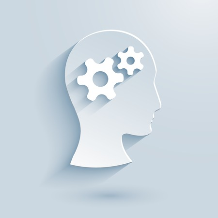 Human head with gears paper icon conceptual of dynamics  knowledge  thinking  psychology  creativity  intelligence and brains