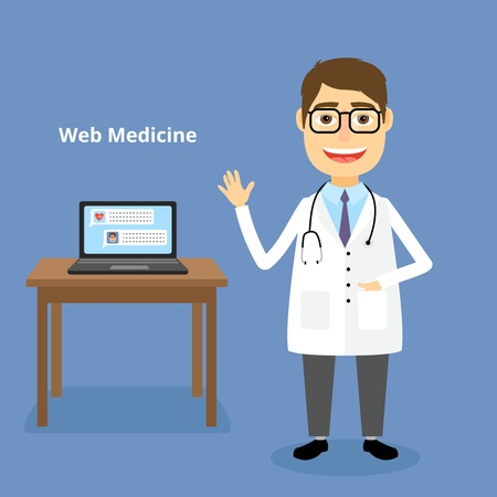 general knowledge: Web medicine concept with a happy friendly doctor wearing a stethoscope