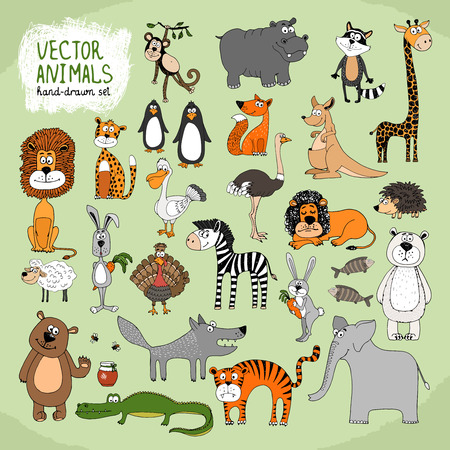 Hand-drawn cartoon wild animals collection Vector