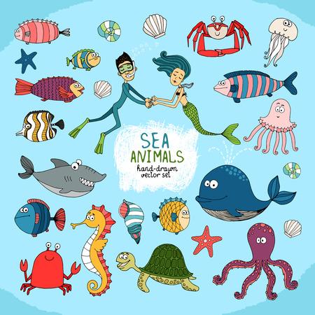 대양의: 다이버 인어와 손으로 그린 만화 바다 생활 세트 일러스트