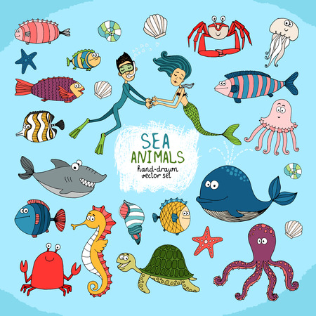 Set of hand-drawn cartoon sea life with a diver  mermaid Illustration