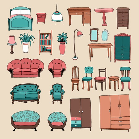 upholstered: Furniture and home accessories icons set
