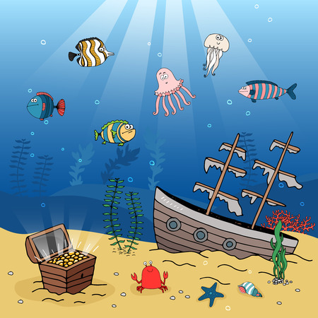 Underwater illustration of a sunken galleon and treasure chest filled with gold coins