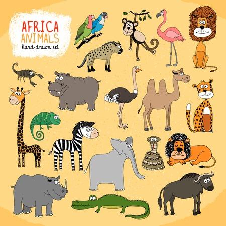 Animals of Africa hand-drawn illustration Vector