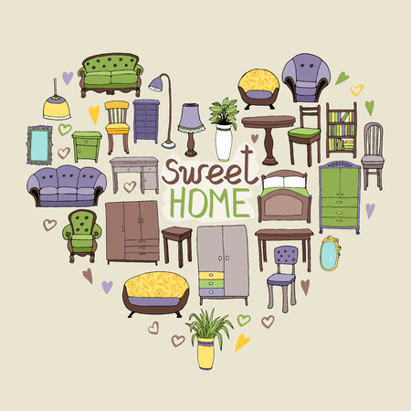 sweet home: Concepto de Home Sweet con diversos accesorios para el hogar y los iconos de muebles