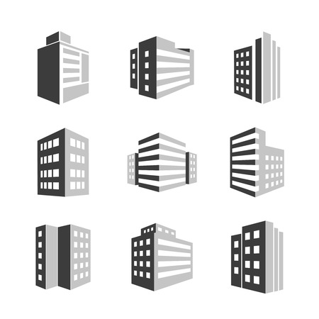 office buttons: Buildings icons 3d isolated on white background Illustration