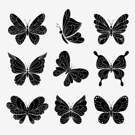 imaginative: butterflies silhouettes set on white background