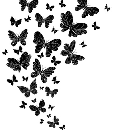 outspread: Flowing curving design of different shaped black and white flying butterflies Illustration