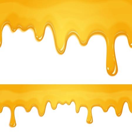 honey liquid: honey drips seamless patterns on white background Illustration