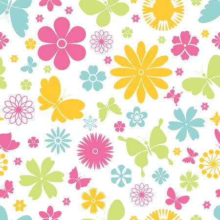 Colorful design fresco di farfalle che volano con le ali aperte e fiori di primavera in uno sfondo seamless Archivio Fotografico - 28413395