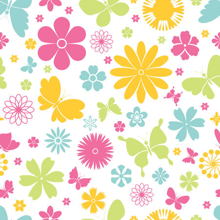 butterfly on flower: Colorful fresh design of flying butterflies with open wings and spring flowers in a seamless background pattern