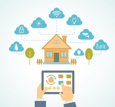home security: illustration concept of smart house technology system with centralized control