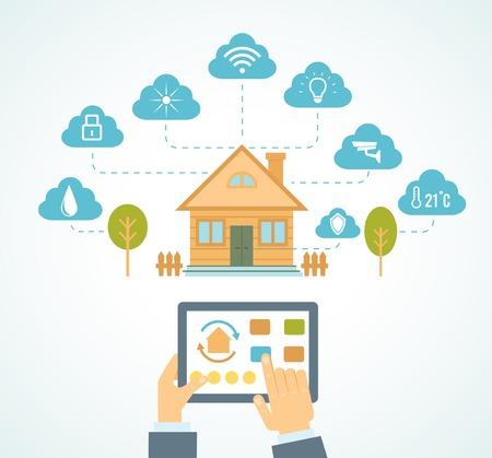 sistemas: Ilustraci�n del concepto de sistema de tecnolog�a de la casa inteligente con control centralizado Vectores