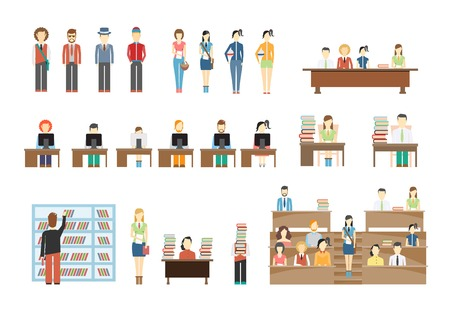 college campus: Students at University Illustration