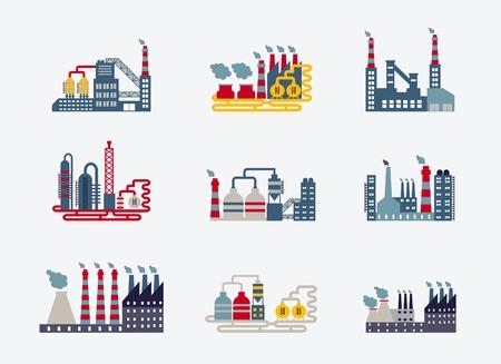 Industriële fabrieksgebouwen iconen