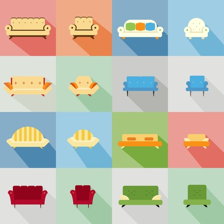 Set of icons of a variety of matching sofas and chairs in different styles and designs in an interior decor and furniture concept Vector