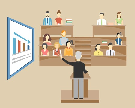 professor: Professor standing in the front of the class at a lectern lecturing to students at university who are sitting in tiered seats facing the viewer  illustration