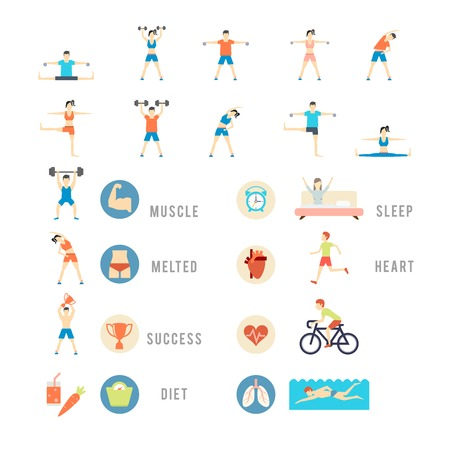 relaxation exercise: Sports and Health People, vector eps10 illustration. People play sports, weights biking yoga and swimming Illustration