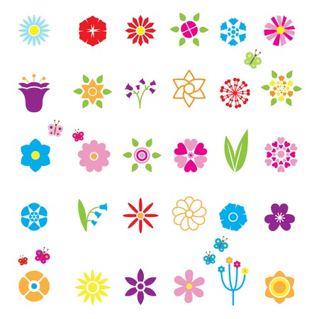 blue rose: Flower Icons Set for decor, edging and branded symbols. Bell chamomile cornflower chicory and other.   Illustration