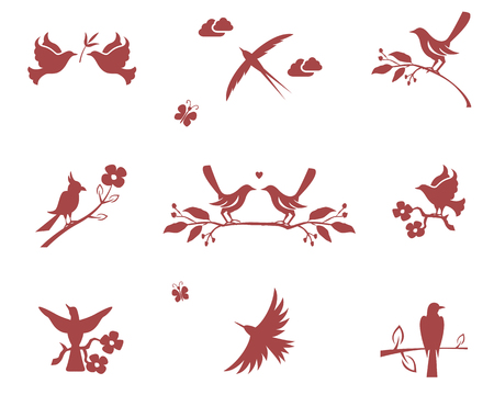 Vector silhouettes of birds on branches. Concept for love, flight and good conduct Vector