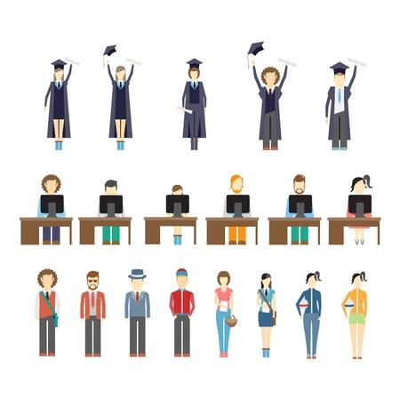 graduacion de universidad: Amplio conjunto de iconos de los jóvenes y los estudiantes graduados que celebran recibir sus diplomas a los estudiantes a trabajar en las computadoras sentados en pupitres y un conjunto diverso de gente de moda joven