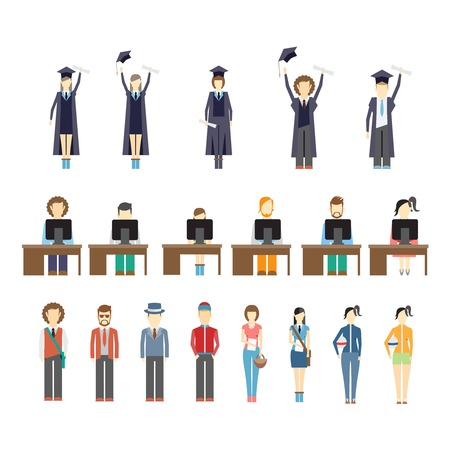 college graduation: Large set of icons of young people and students with graduates celebrating receiving their diplomas  students working at computers seated at desks and a diverse set of young trendy people Illustration