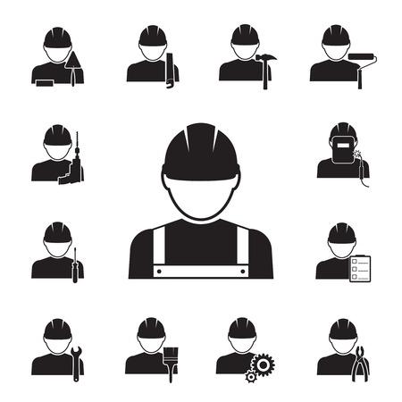 kontrolleur: Schwarze Silhouette Vektor-Icons von Arbeitern gekoppelt mit verschiedenen Tools einschlie�lich Bohrer Schraubenschl�ssel Pinsel Rolle Zange sah Schwei�er Hammermeister Inspektor mit Noten-Schraubendreher und Getriebe