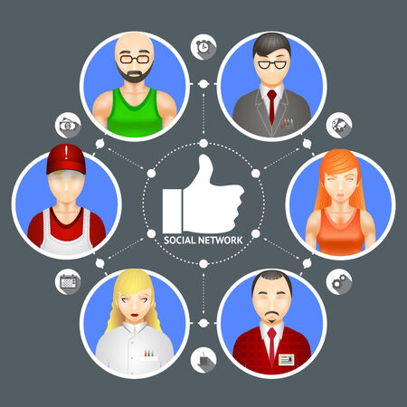 hub computer: Conceptual illustration showing the diversity of people in a social network with six avatars of men and women linked around a central thumbs up Like icon Illustration